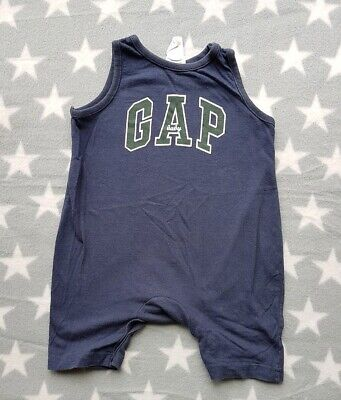 Vintage Baby GAP Boys Blue Summer Romper 3-6 Months