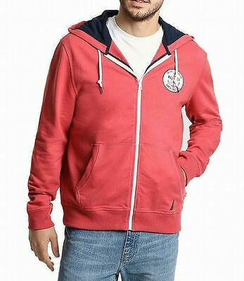 Nautica Men's Sweater Red Size 2XLT Sailboat Logo Front-Zip Hooded $125 176