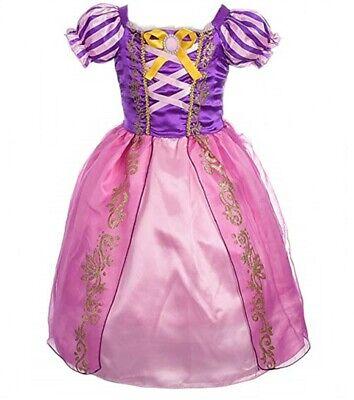 üm Mädchen Prinzessinen Kleid Rosa Lila Pink (Kind Rapunzel Kostüm)