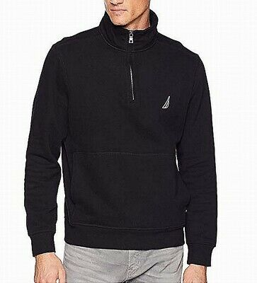 Nautica Mens Sweater Black Size Medium M 1/2 Zip Pullover Fleece Knit $69 465