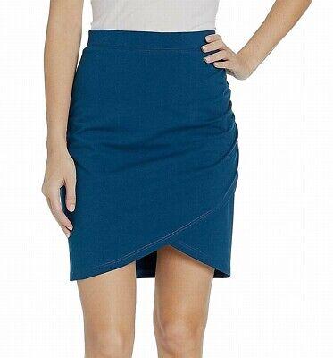 FIG Womens Skirt Teal Blue Large L Stretch Knit Tulip-Hem Crossover $59- 616 Knit Tulip Skirt