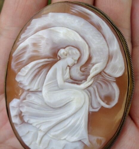 "Victorian Antique 2.5"" Carved Hebe Zeus Eagle Shell Cameo Pin A Beauty!"