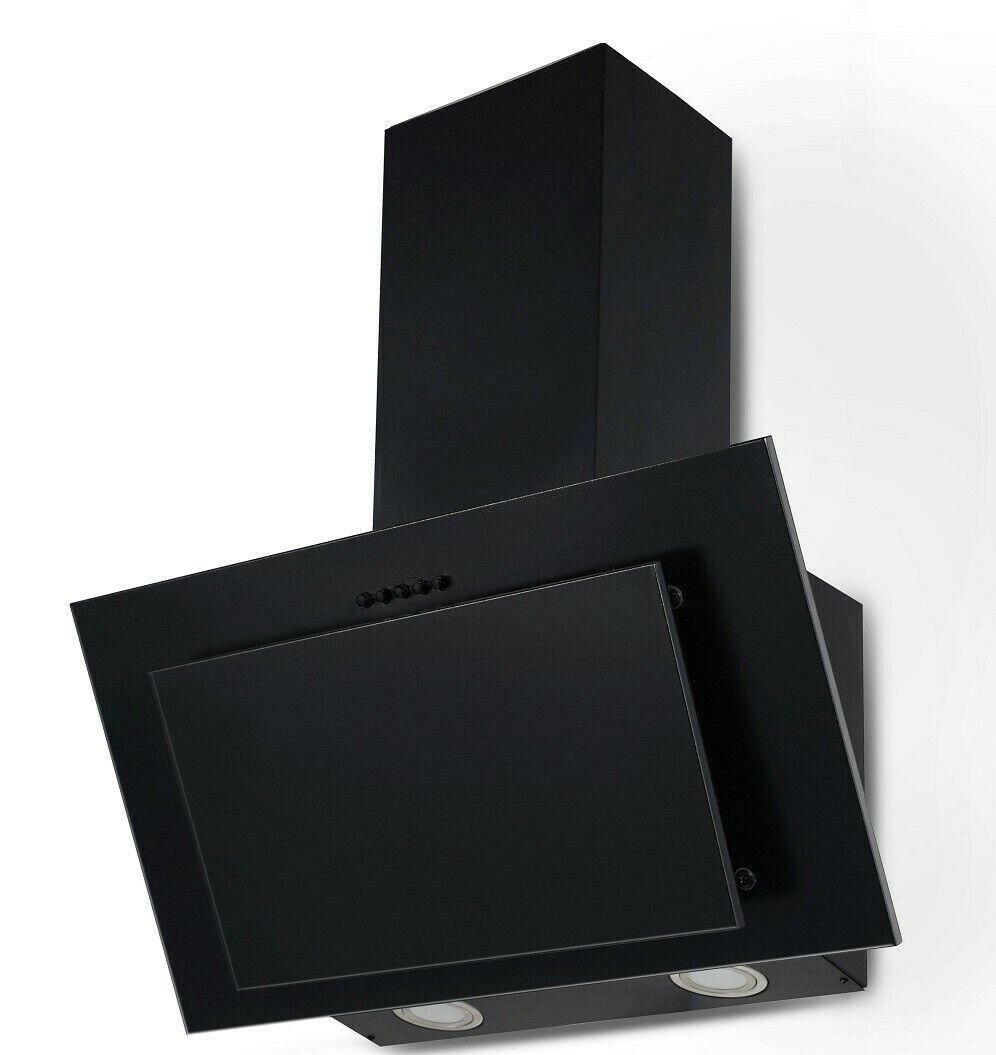 Dunstabzugshaube Kopffreihaube schwarz 60cm Schräghaube Umluft Abluft Wandhaube