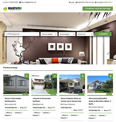 Real Estate Classifieds Website   Responsive   Free Install   Hosting