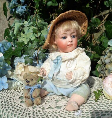 """RARE ANTIQUE BISQUE HEAD GEBRUDER HEUBACH 7247 DEP POUTY CHARACTER BABY DOLL 7"""""""