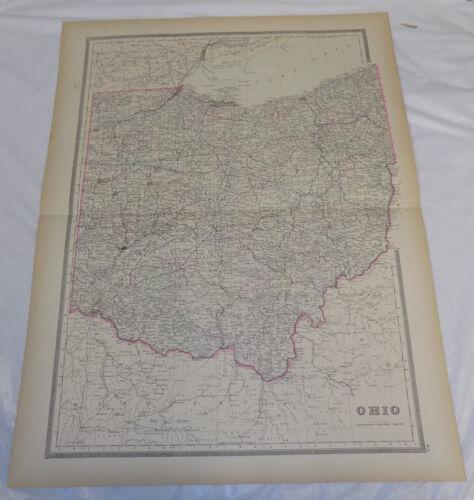 "1884 Antique COLOR Map/// OHIO, Published by Bradley, 19x24.5"""