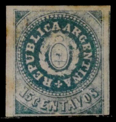 ARGENTINA: 1862 19TH CENTURY CLASSIC ERA STAMP UNUSED NO GUM SCT#7 CV$350 SOUND