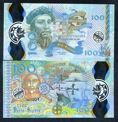 Portuguese Brazil, 100 Escudos, 2017, Clear Window Polymer, Pedro Alvares Cabral