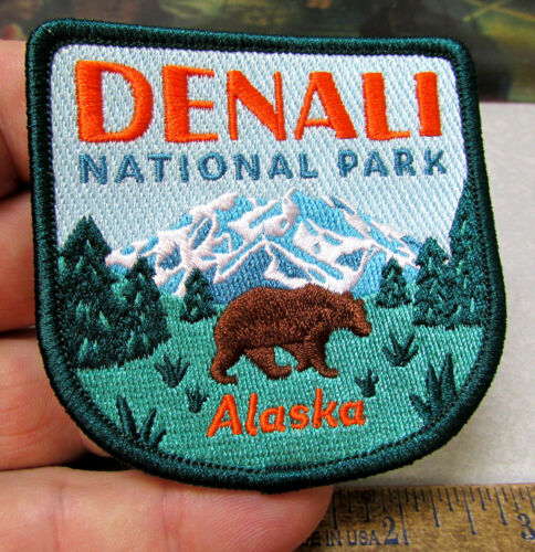Denali National Park Alaska with Grizzly Bear Embroidered Alaska iron on Patch