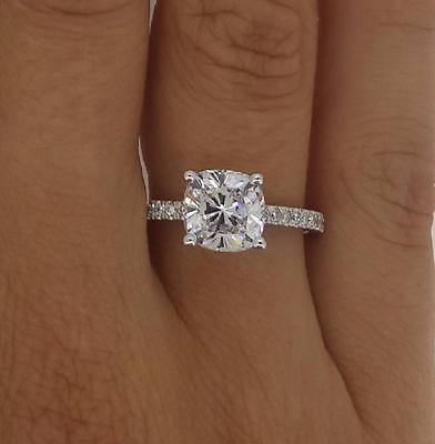 3.05 Cushion Cut Diamond Engagement Ring  SI1/D 14K White Gold Enhanced