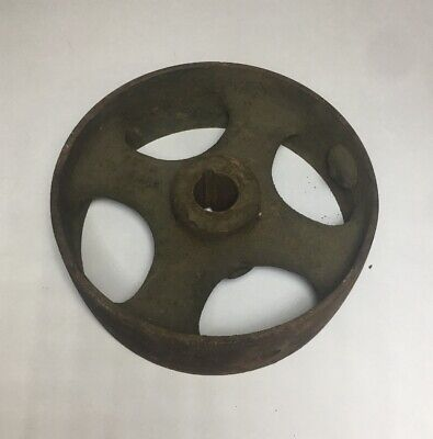 Vtg Antique Cast Iron 8 Keyed Flat Belt Pulley Line Shaft Gas Hit And Miss