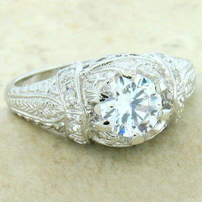 Platinum Antique Style Ring (ENGAGEMENT WEDDING ANTIQUE STYLE PLATINUM OVER 925 STERLING SILVER CZ)