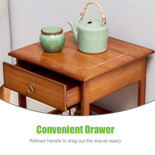 Retro Wooden Bamboo Nightstand Bedside Table Bedroom Storage Cabinet w Drawer