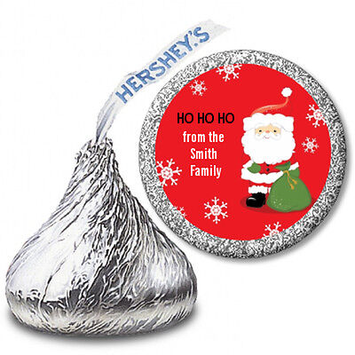 Santa Clause Toy Bag -Personalized Christmas Hershey Kiss Stickers-108 Stickers