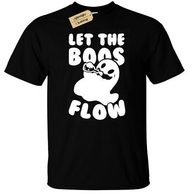Halloween Drinks Alcoholic (Let the boos flow T-Shirt Mens funny ghost halloween joke drinking booze)