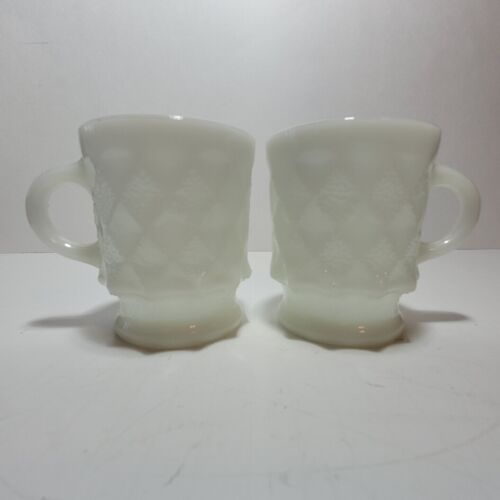 (2) VINTAGE FIRE KING ANCHOR HOCKING STACKABLE DIAMOND WHITE COFFEE CUPS