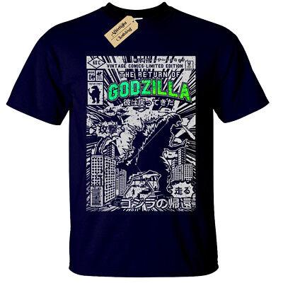 GODZILLA Mens T Shirt S-5XL SCREEN PRINTED Retro Comic dinosaur gift