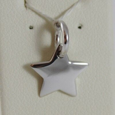 White Gold Flat Star (18K WHITE GOLD ENGRAVABLE STAR CHARM PENDANT 11 MM FLAT SMOOTH MADE IN ITALY )