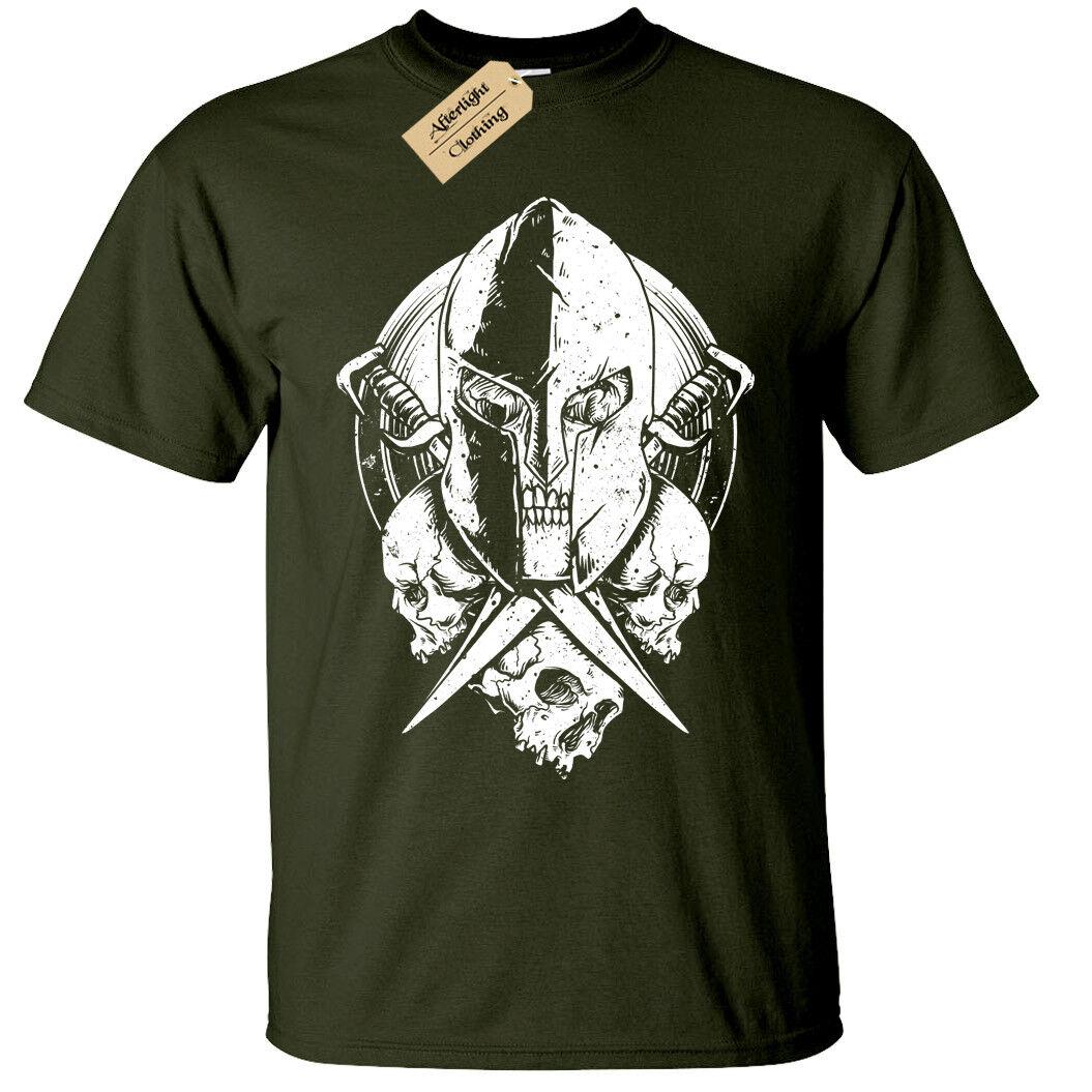 Guerriero Spartano Skull T Shirt Uomo Bodybuilding Mma da Palestra Sportive