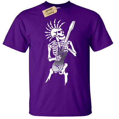 Kinder Jungen Mädchen Punk Skelett T-Shirt Gitarre Rock Goth Totenkopf Biker (Kinder Skelett Shirt)