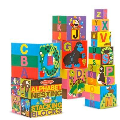 NEW MELISSA & DOUG NESTING BLOCKS stacks 3 feet! 10 educational toy BUILDING abc
