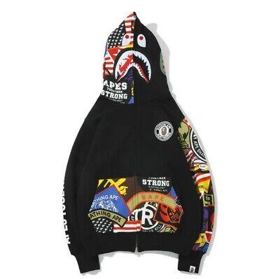 Popular A Bathing Ape BAPE Shark Head Coat Full Zipper Camouflage Jacket Hoodie