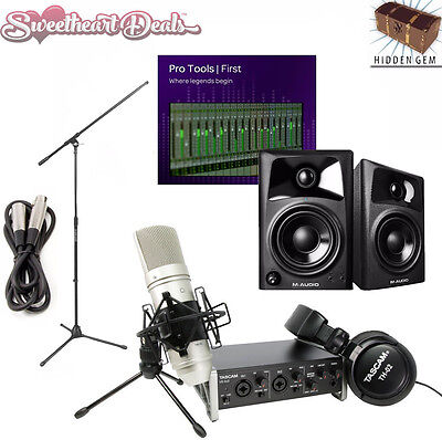 Tascam M Audio Pro Tools First Home Studio Package Daw Recording Bundle