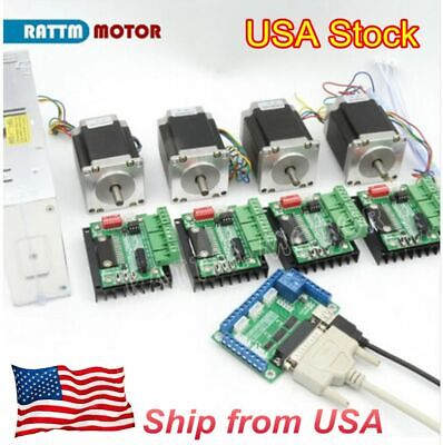 Us 4 Axis Cnc Kit Nema23 Stepper Motor Dual Shaft 270o-in76mm3amd430 Driver