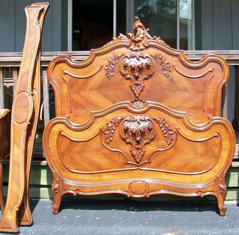Louis XV Antique Heavily Carved Walnut Wood Full-Size Bed. Just Beautiful.