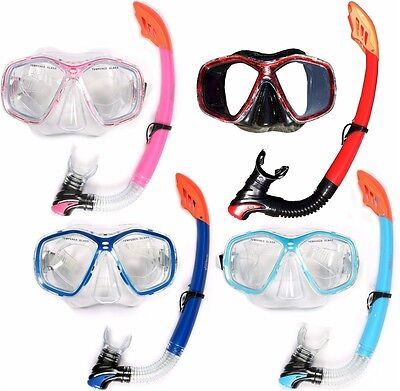 ADULT MASK AND SNORKEL SET DIVING pvc scuba dive diver snorkelling TWO BARE FEET