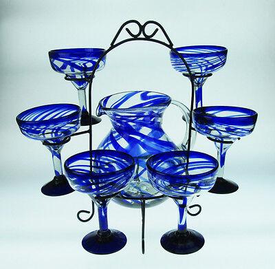 Mexican Margarita Glasses 6, Pitcher set, Blue Swirl design 15oz display rack