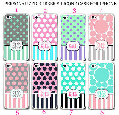 PERSONALIZED MONOGRAM MINT PINK POLKA DOT STRIPE RUBBER CASE For iPhone XR XS 8