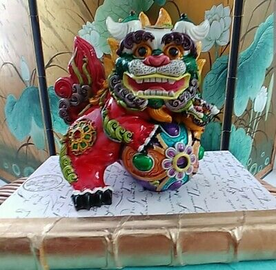 Gorgeous Colorful Foo Dog Figure - WOW!!!