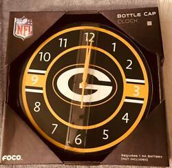 GREEN BAY PACKERS: Metal Bottle Cap Wall Clock; 13.75 Diameter wSecond Hand BN