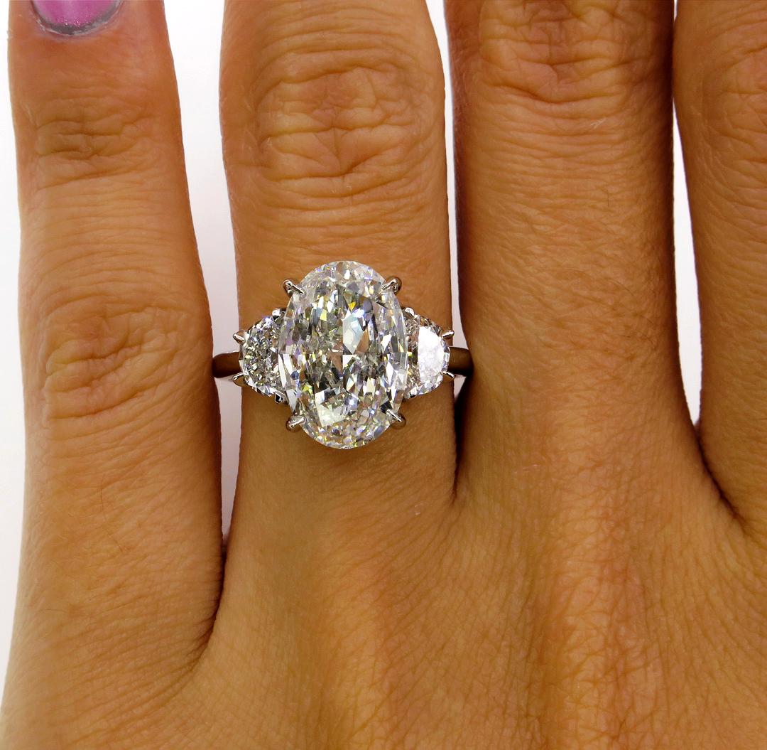 14K WG 1.30 Ct 3-Stone Oval Brilliant Cut Diamond Engagement Ring G,VS1 GIA