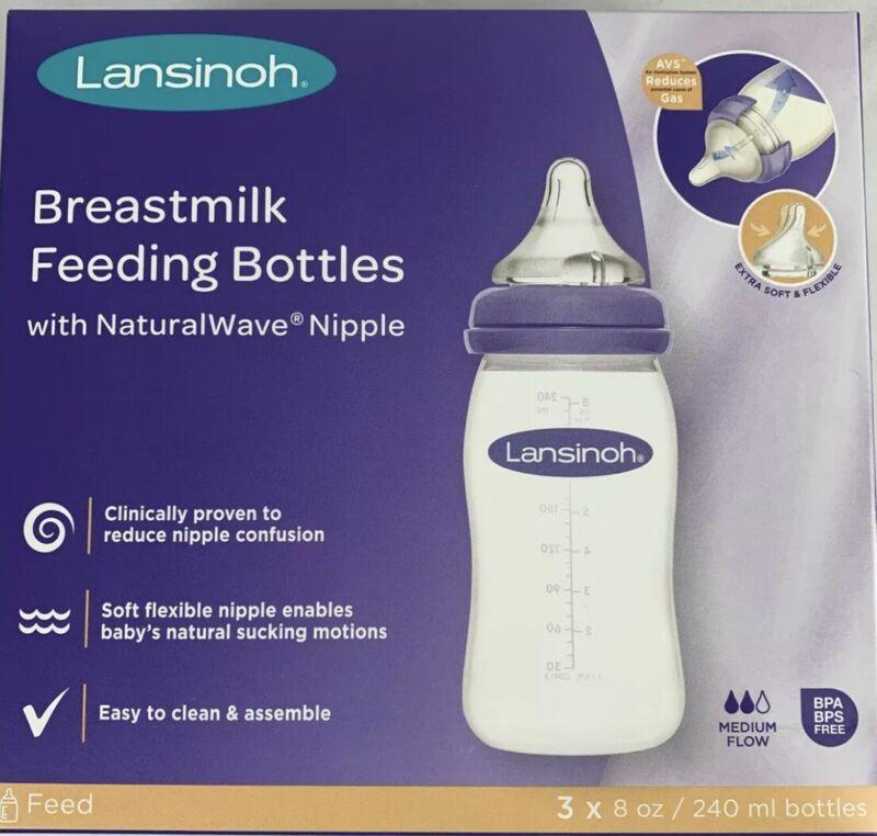 Lansinoh Breastmilk Feeding Bottles with NaturalWave Nipple 8oz  Medium Flow 3pk