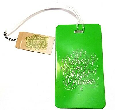 "Awesome 4"" Green Plastic Luggage Tag Holder ""I'd Rather be in New Orleans"" New"