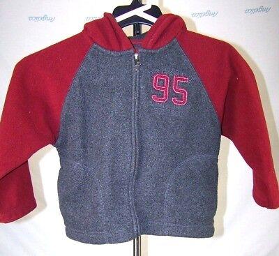 Oshkosh Gray Red Fleece Hoodie Zipper Jacket Coat Boys Size 4 XS - Oshkosh Fleece Hoodie