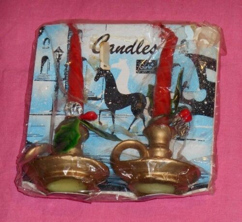 vintage Christmas GURLEY CANDLES red/gold lamp with pine cones new/sealed