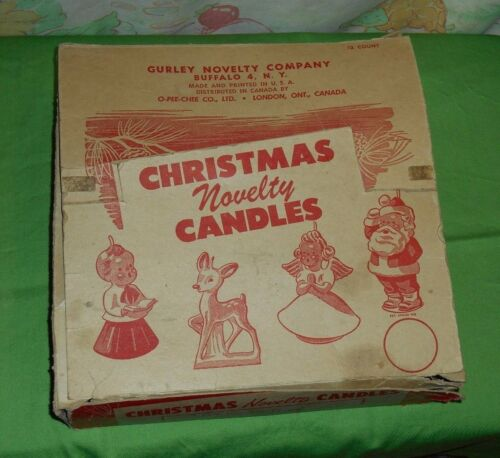 vintage O-Pee-Chee Christmas GURLEY CANDLE candles ORIGINAL STORE DISPLAY BOX