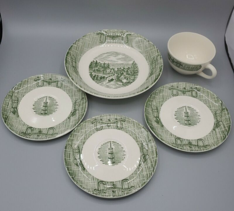 Vintage Green & white Ox and Bow Royal China Colonial Lot of 5 dishes