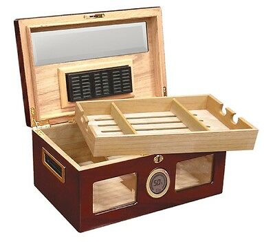 Digital Desktop Cigar Humidor - The Valencia  Glass Top  -  Cherry - 120 Cigars