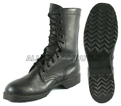 Boys Hiking Military Lace Up LEATHER COMBAT Ankle BOOTS Black 3-6 NEW - Boys Military