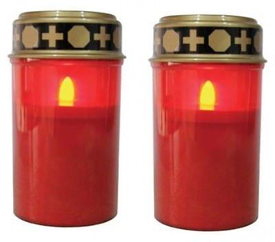Batterie Kerzen (LED-Grablicht Ewiges Licht Grabkerze 2er Set mit Batterien, Flackereffekt NEU)