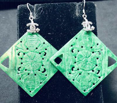 Antique GUCCI GREEN JADEITE JADE SS DIAMOND EARRINGS SET