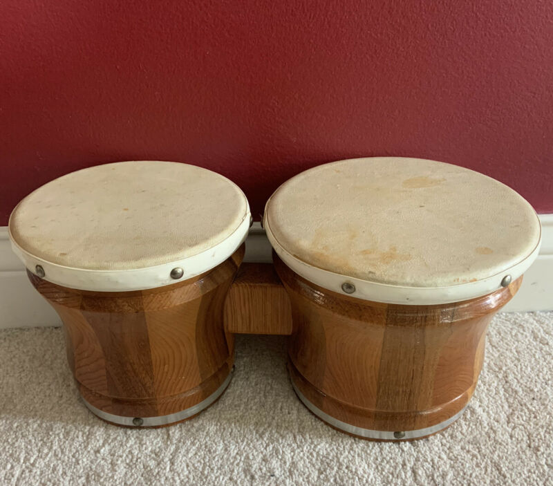 Used Rare Old Vintage 1950s - 1960s Bongo Drums Musical Instrument