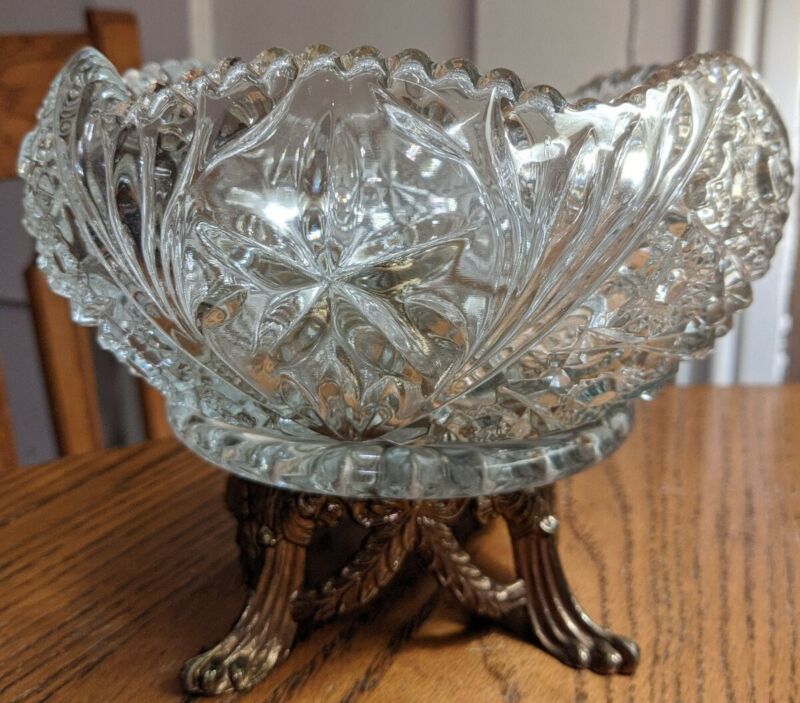 Clear Crystal Compote with Metal Base Stand Fruit Bowl Candy Dish Vintage.