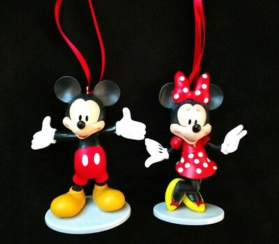 (Disney Mickey Mouse and Minnie Mouse Christmas Ornament Set)