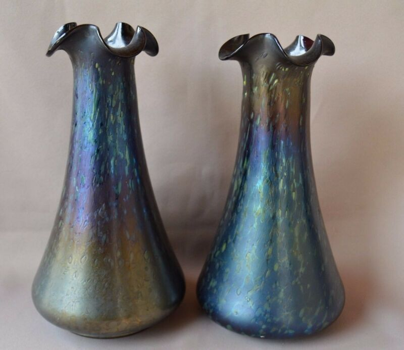 Loetz Cobalt Papillon Blue Iridescent Glass Austrian Art Pair of Vases