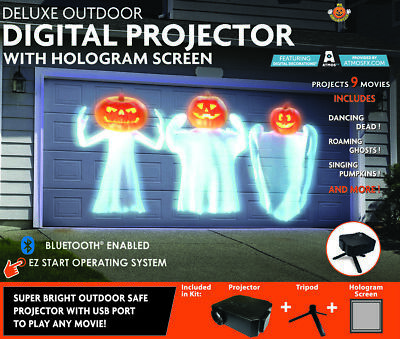Mr Halloween Outdoor Deluxe Virtual Holiday Digital Projector Hologram Screen](Halloween Hologram Projector)